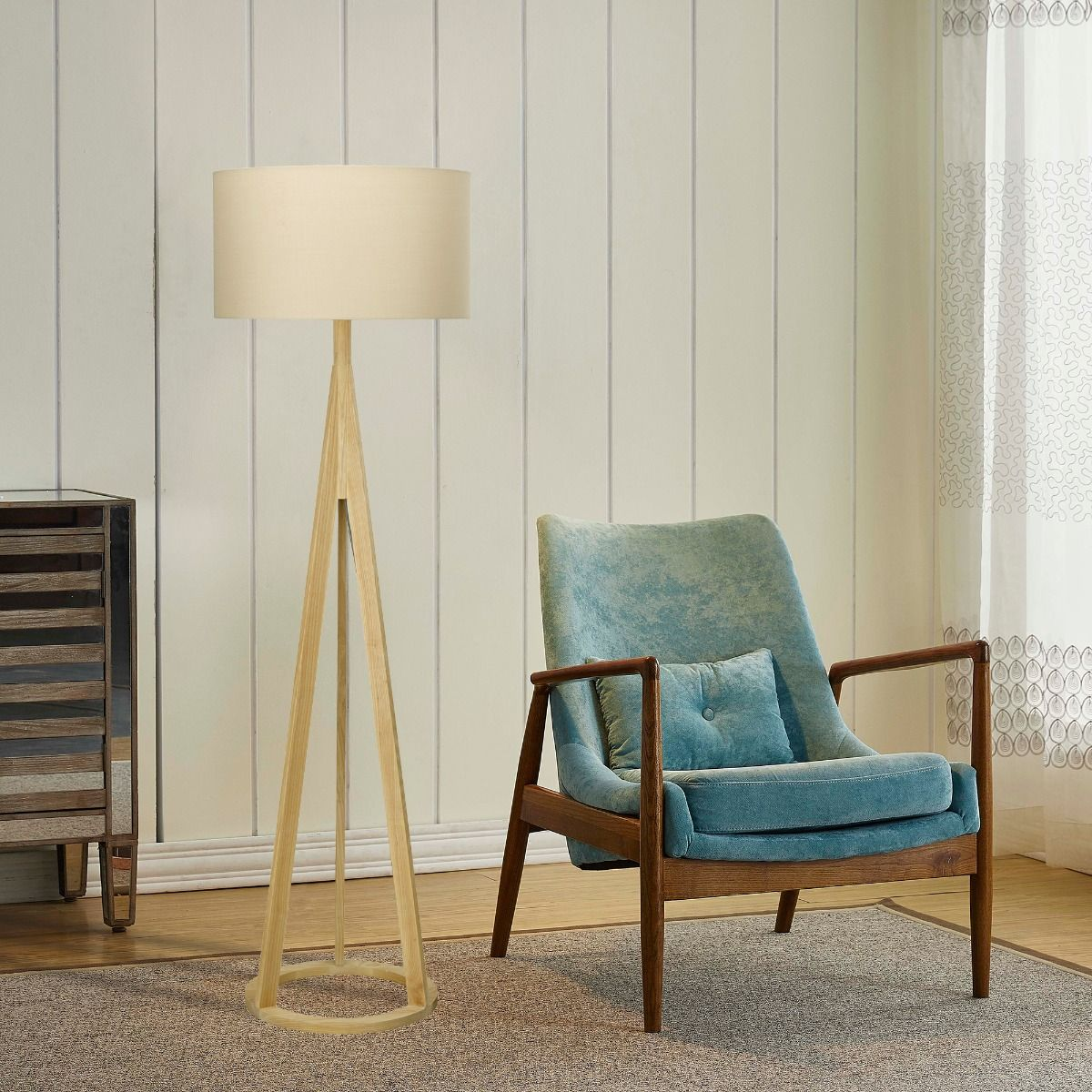 TRIPOD ASH Wooden floor lamp with grey